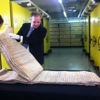 At the National Archives, looking at 14th century pipe rolls with Dr John Davies