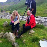 Suzannah Lipscomb and Tony Robinson on set at Time Team