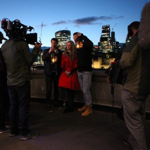 Filming on Tower Bridge.