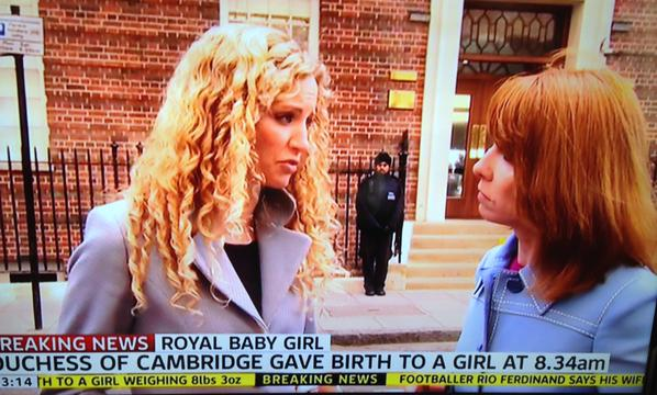With Kay Burley outside the Lindo Wing for Sky News