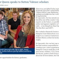 Tudor Queen speaks to Sutton Valance
